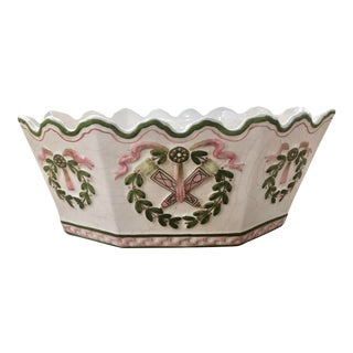 Italian Faience Monteith or Cachepot With Wreath Motifs For Sale