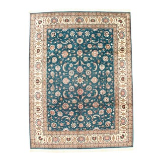 Pasargad Green Fine Hand-Knotted Tabriz Design Rug- 9' X 12' For Sale