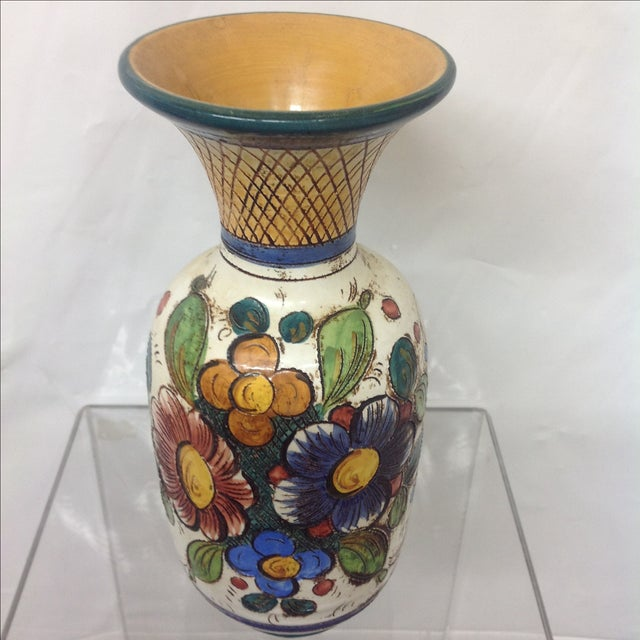 Blue Large Mid Century Italian Hand Decorated Vase For Sale - Image 8 of 8