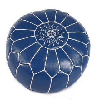 Moroccan Leather Pouf - Blue With White Embroidery