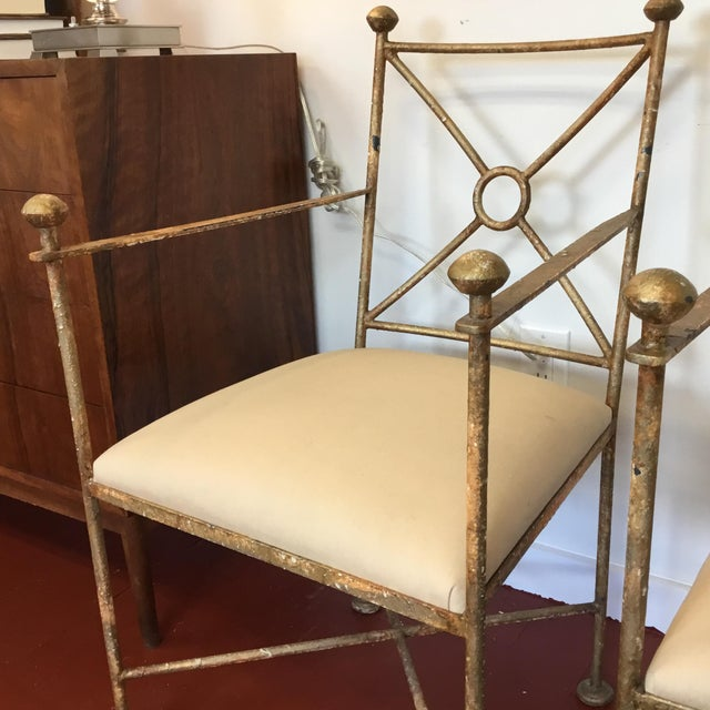 Vintage Gilt Iron Chairs - A Pair - Image 4 of 8