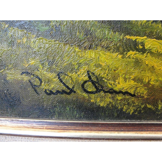 Oil Paint Mid Century Oil on Board Landscape Painting by Paul Chen For Sale - Image 7 of 8