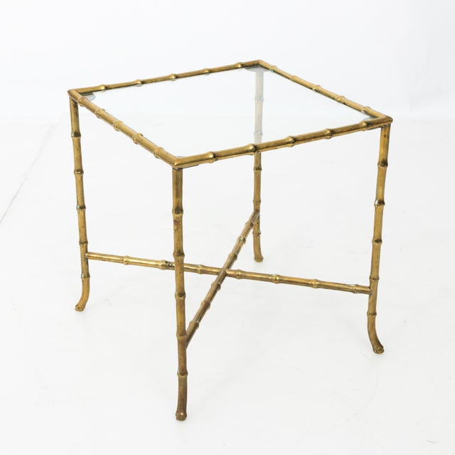 1960s Hollywood Regency Solid Brass Faux Bamboo Side Table For Sale - Image 9 of 11