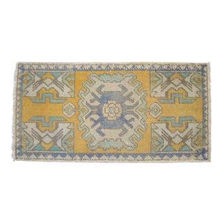 """Hand-Knotted Small Rug. Anatolian Yastik Petite Rug 20"""" X 38"""" For Sale"""
