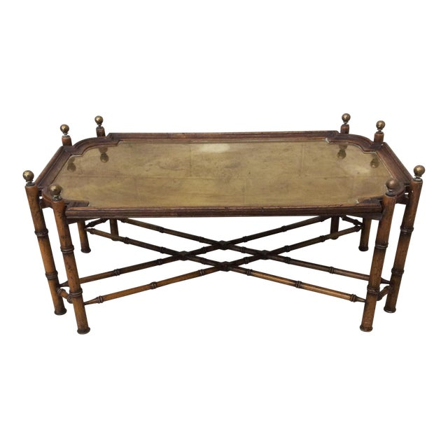 Chinese Chippendale Faux Bamboo and Brass Tray Coffee Table by Sarreid For Sale