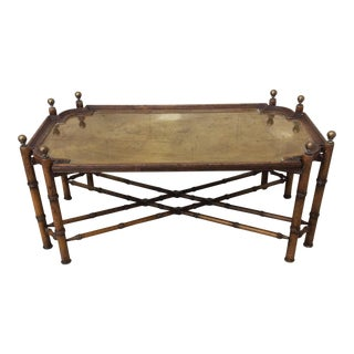 Sarreid Faux Bamboo Wood and Brass Tray Coffee Table