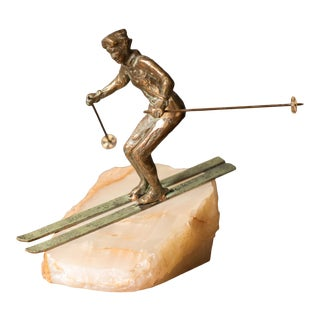 Mid Century Curtis Jere Bronze Skier Sculpture on Stone for Artisan House For Sale