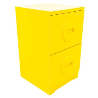Mid Century Modern Yellow Plastic Akro-Mils Storage Filing Cabinet For Sale