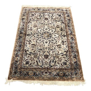 6ft X 9ft Chinese Silk 180 Line Isfahan Design Rug For Sale