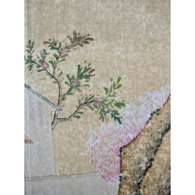 19th Century Chinese Hand Painted Wallpaper Panel, Framed For Sale - Image 6 of 13