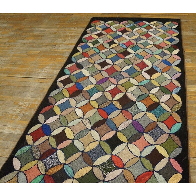 """Antique American Hooked Rug 3'7"""" X 8'9"""" For Sale - Image 9 of 12"""