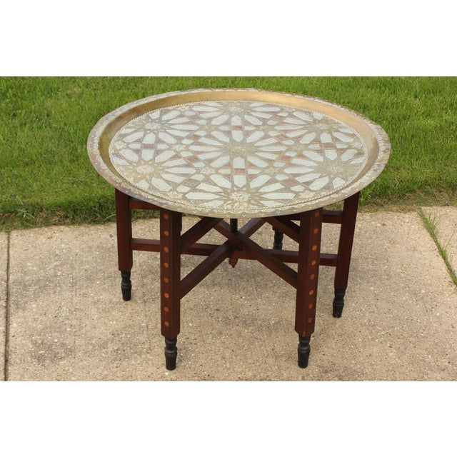 Moroccan Brass Tray Table with Geometric Motif - Image 3 of 8