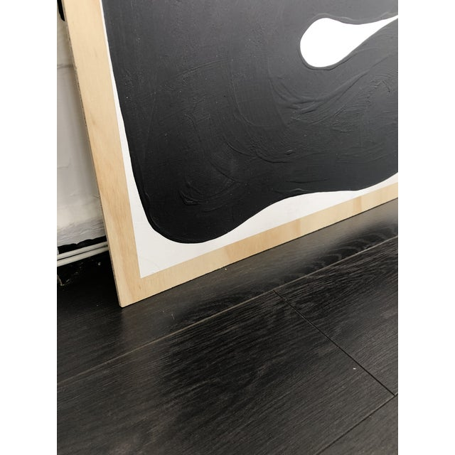 2010s Black and White Run on Abstract Triptych Painting For Sale - Image 5 of 9