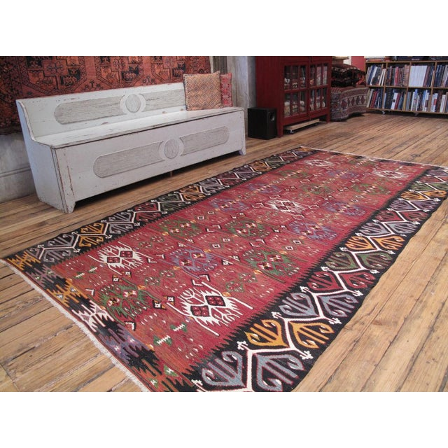 A very handsome Kilim from Central Turkey in bold colors and design. Excellent quality and condition.