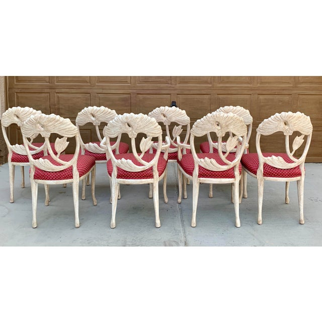 Late 20th Century Art Nouveau Style Carved Dining Chairs - Set of 8 For Sale - Image 5 of 12