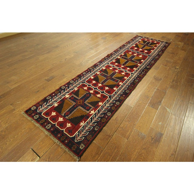"""Persian Baluch Red & Blue Rug - 2'7"""" x 9'10"""" - Image 4 of 7"""