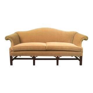Chippendale Gold Velvet Sofa For Sale