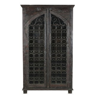 Willem Wooden 2 Door Accent Bar Cabinet, Wine Rack, Storage Unit, Bar Chest, Rustic Look- Wax Finish For Sale