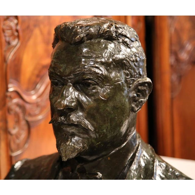 "Large 20th Century French Bronze Bust Signed ""A. Descatoire"", 1913 - Image 3 of 8"