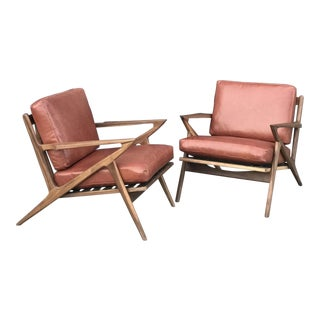 Pair of Custom Z Chairs in Terracotta Leather For Sale