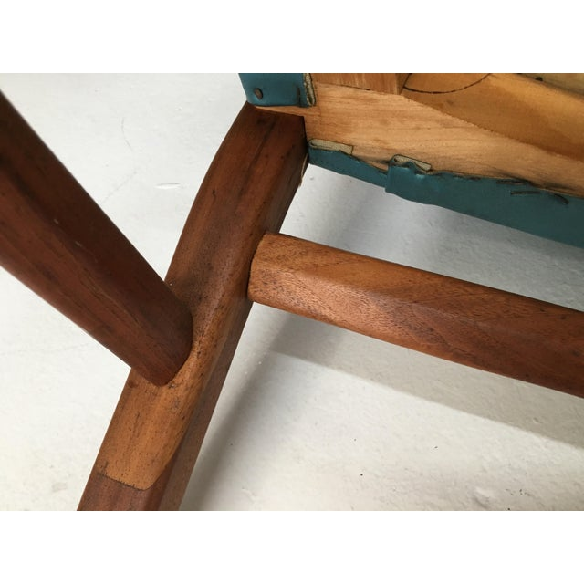 Mid-Century Walnut Ming Horseshoe-Style Slipper Armchair For Sale - Image 12 of 13
