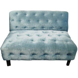 1960s Vintage Velvet Tufted Settee For Sale