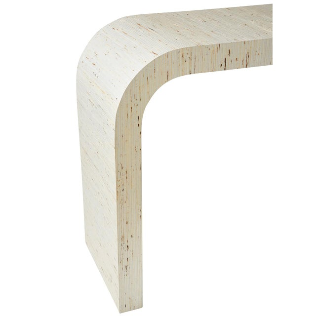 Early 21st Century Schumacher Jinan Arrowroot Weave Textured Fabric-Wrapped Dynasty Console Table For Sale - Image 5 of 7
