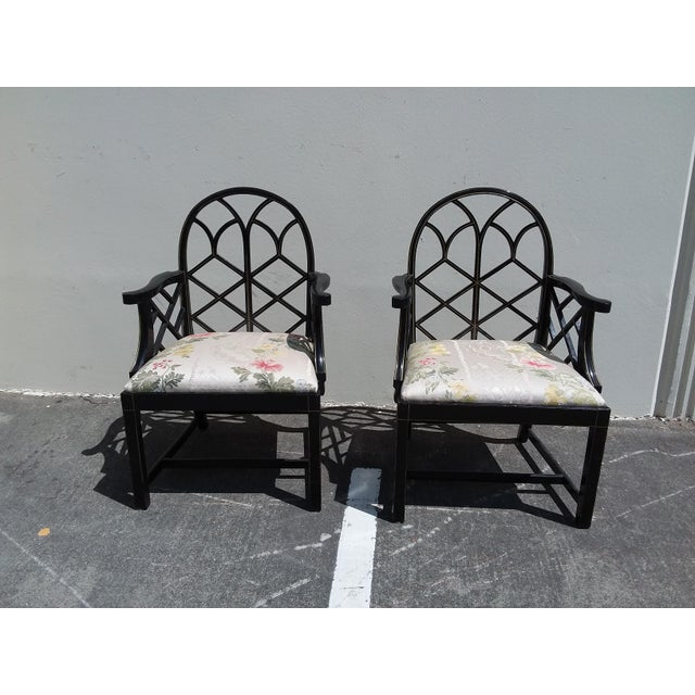 Paint Lattice Work Back Black Arm Chairs - a Pair For Sale - Image 7 of 11