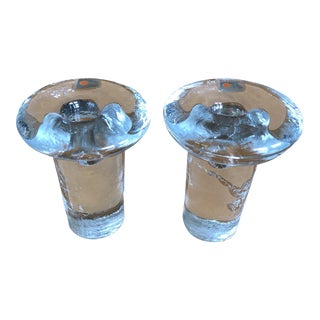 Mid Century Blenko Art Glass Candle Holders - a Pair For Sale