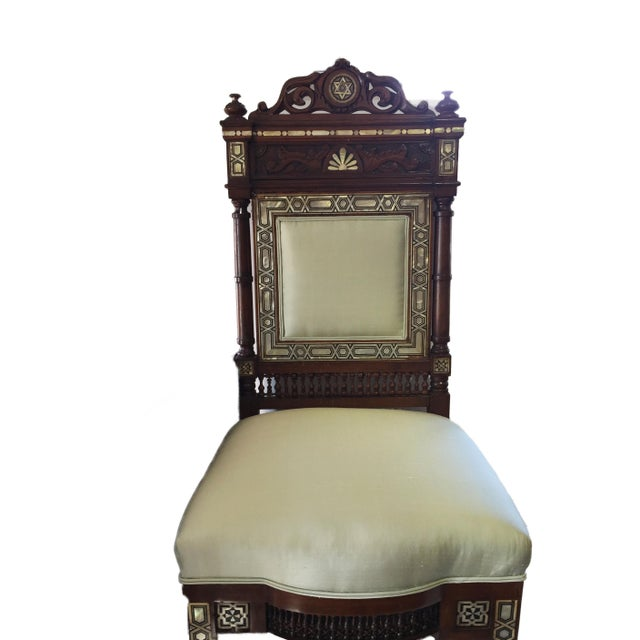 """Silk 19th C Middle Eastern /Moorish Chair W/Mother Pearl 41"""" H For Sale - Image 7 of 12"""