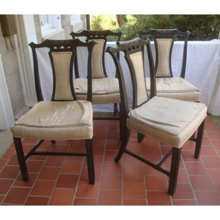 Chinese Chippendale Chinoiserie Black Lacquer Dining Chairs, Set of 6 Preview