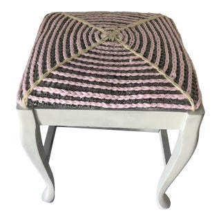 Cottage Style Vintage Mahogany Bench Newly Painted in White Handmade Triple Crochet Decor Seat For Sale