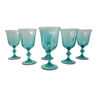 French Teal Crystal Optic Wine Glasses, Set of 6 For Sale