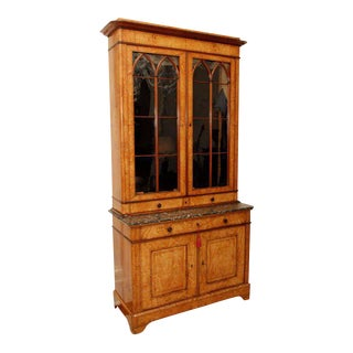 19th C. Ash Burl Bookcase For Sale