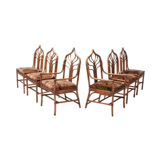 Regency Set of Italian Bamboo Dining Chairs With Floral Cushions For Sale