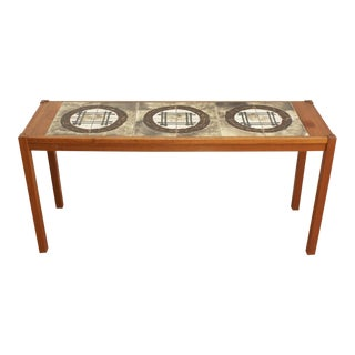 Mid Century Modern Teak and Ceramic Tile Console Table - Ox Art