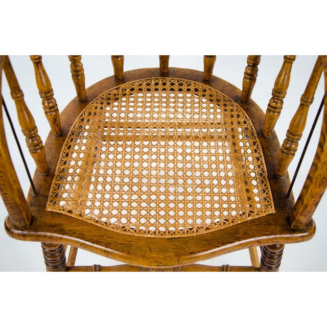 Late 19th Century American Windsor Style Barrel Back Oak and Caned Side Chairs- A Pair For Sale - Image 9 of 13