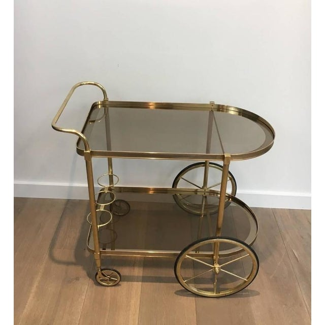 1960s French Brass and Smoked Glass Bar Cart - Image 4 of 11
