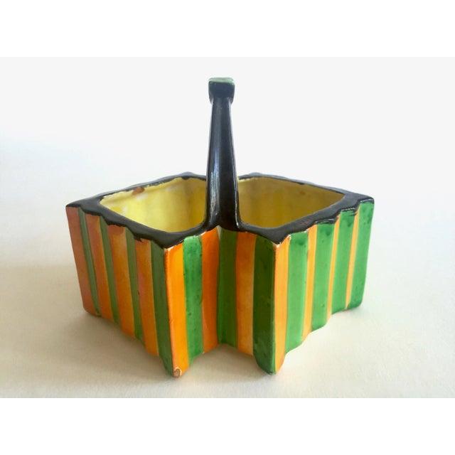 Ceramic Rare Vintage 1930's Art Deco Japan Art Pottery Hand Painted Modernist Ceramic Cream & Sugar Serving Set For Sale - Image 7 of 13