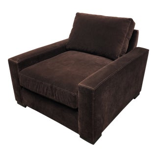 Minimalist Restoration Hardware Brown Mohair Maxwell Chair