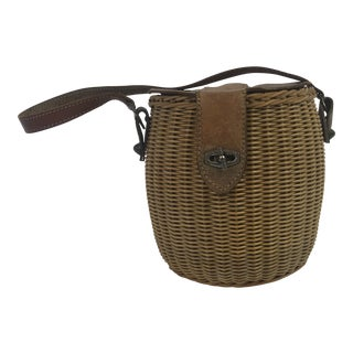 French Basket Purse With Leather Strap For Sale
