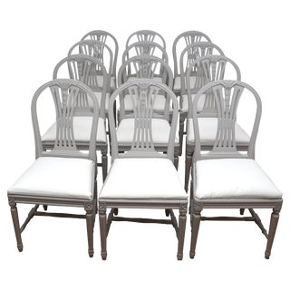 Swedish Gustavian Style Dining Chairs in Light Grey (12) For Sale