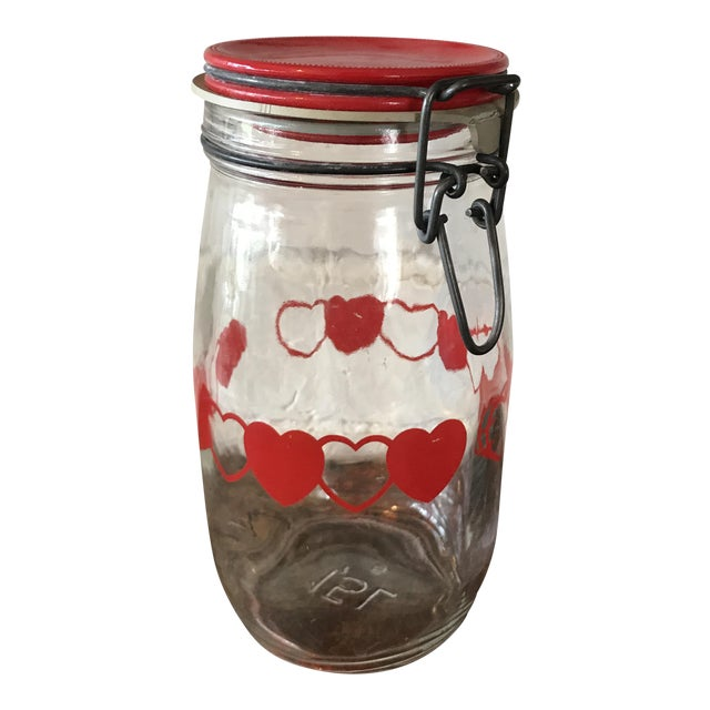 Vintage Glass Canister Jar W/ Hearts For Sale