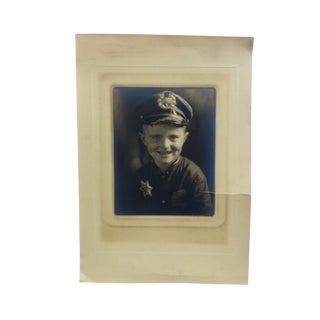 """Early 20th Century Antique Bachrach """"Little Police Boy"""" Black & White Photograph For Sale"""