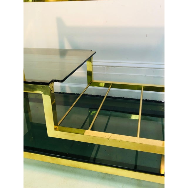 1970s Italian Brass Bar Cart With Smoke Glass Shelves For Sale - Image 4 of 10