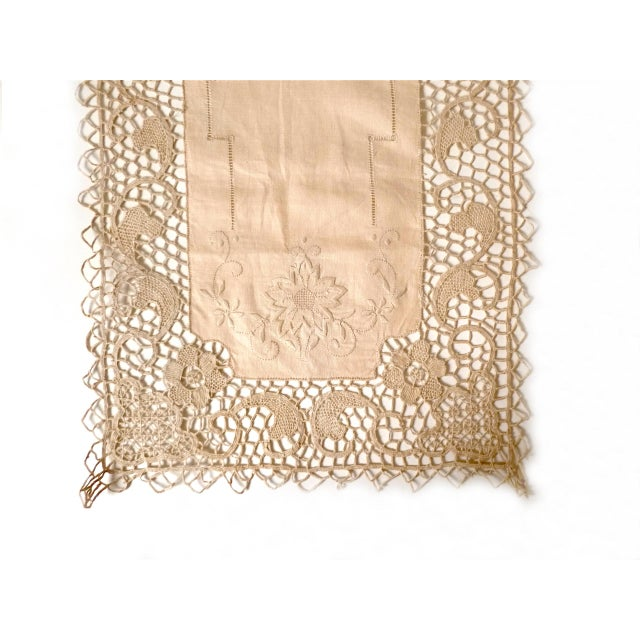 Amazing, intricate detail and handwork on this embroidered lace cotton table runner or dresser scarf. Very fine and well...
