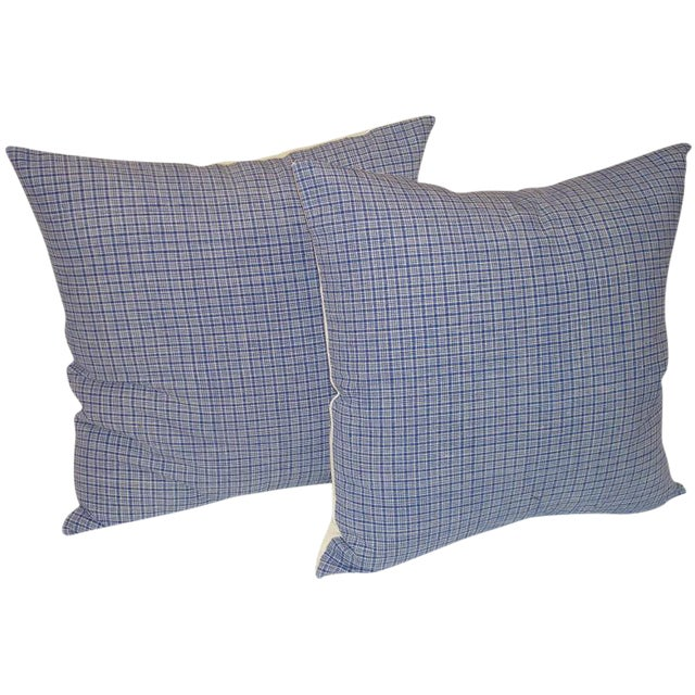 19th Century Linen Plaid Pillows For Sale