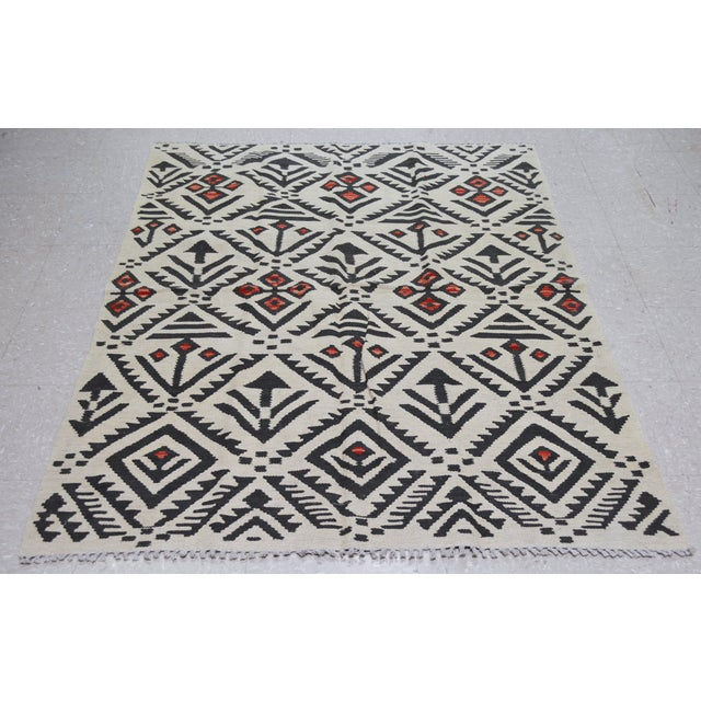 Vintage Afghan Maimana tribal hand woven kilim with natural colors,organic wool and geometric pattern.