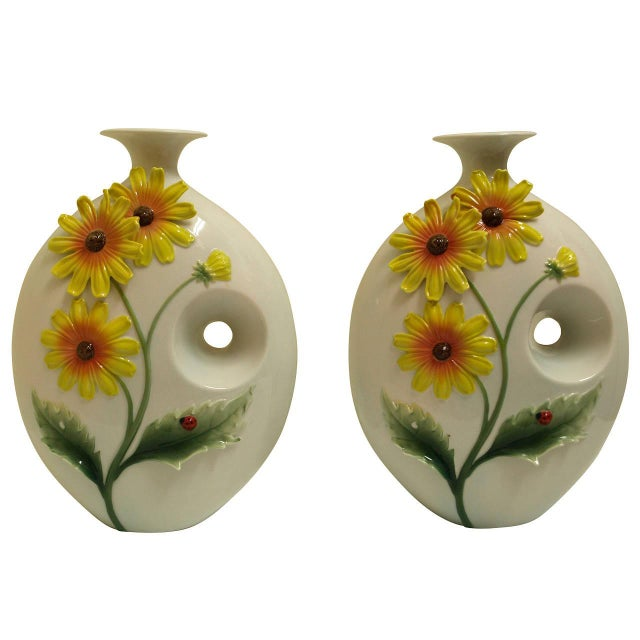Mid-Century Sunflower Vases - Pair - Image 1 of 5