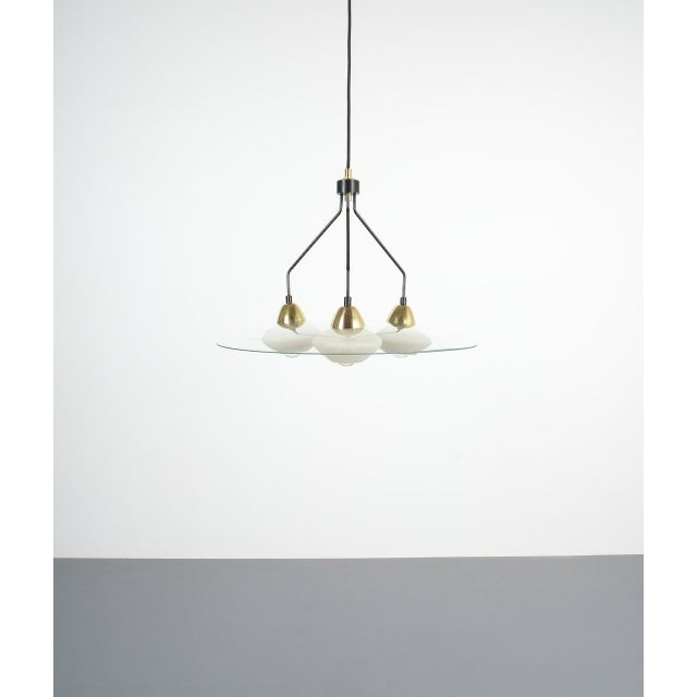 Angelo Lelii Style Ufo Chandelier Clear Glass Brass, Italy Circa 1955 For Sale - Image 11 of 13